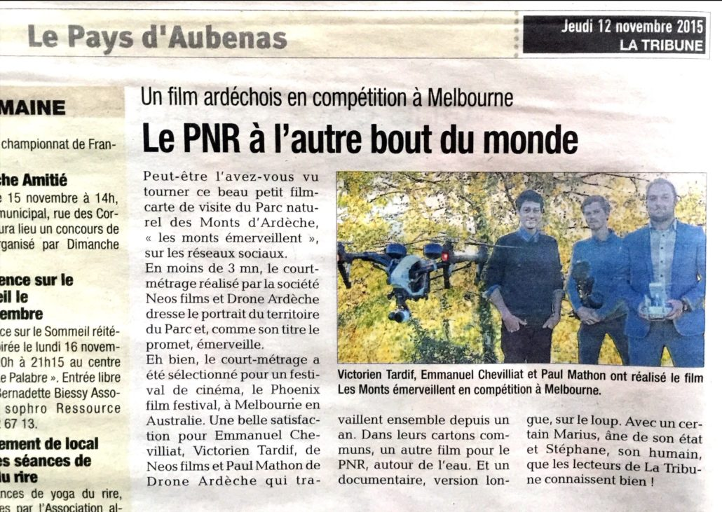 Article La Tribune Drone Ardeche 12 Novembre 2015