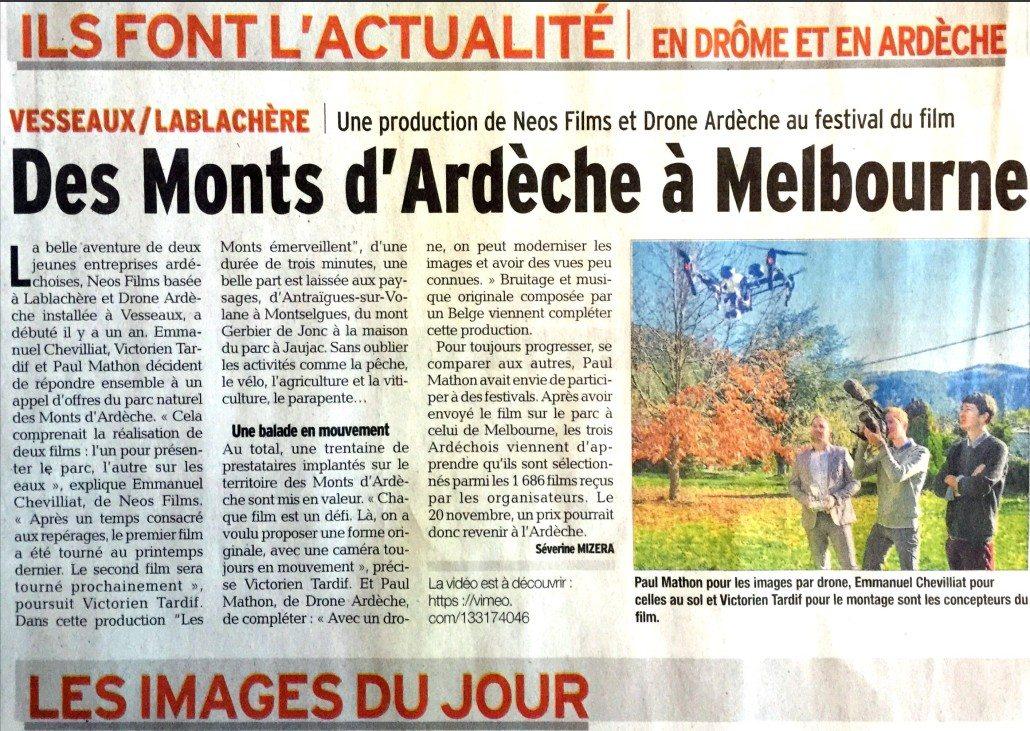 article le dauphiné libéré parlant de notre société drone ardeche