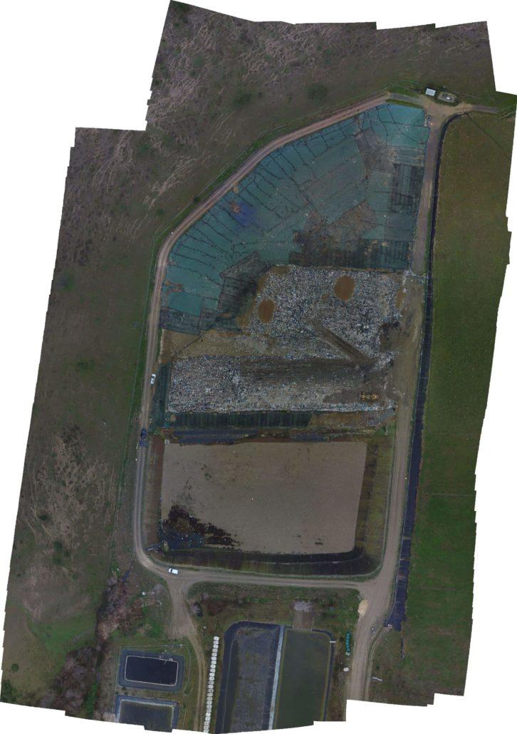orthophoto centre d'enfouissement de déchets topographie par drone