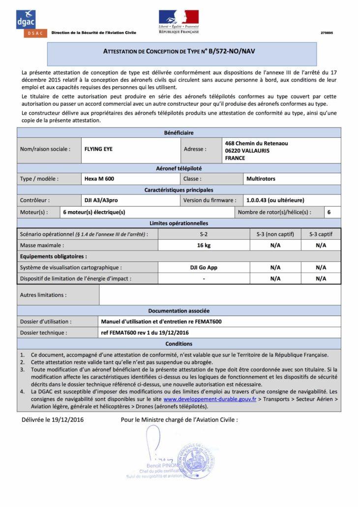 attestation homologation DJI M600