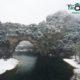 Pont d'arc sous la neige par drone BFMTV