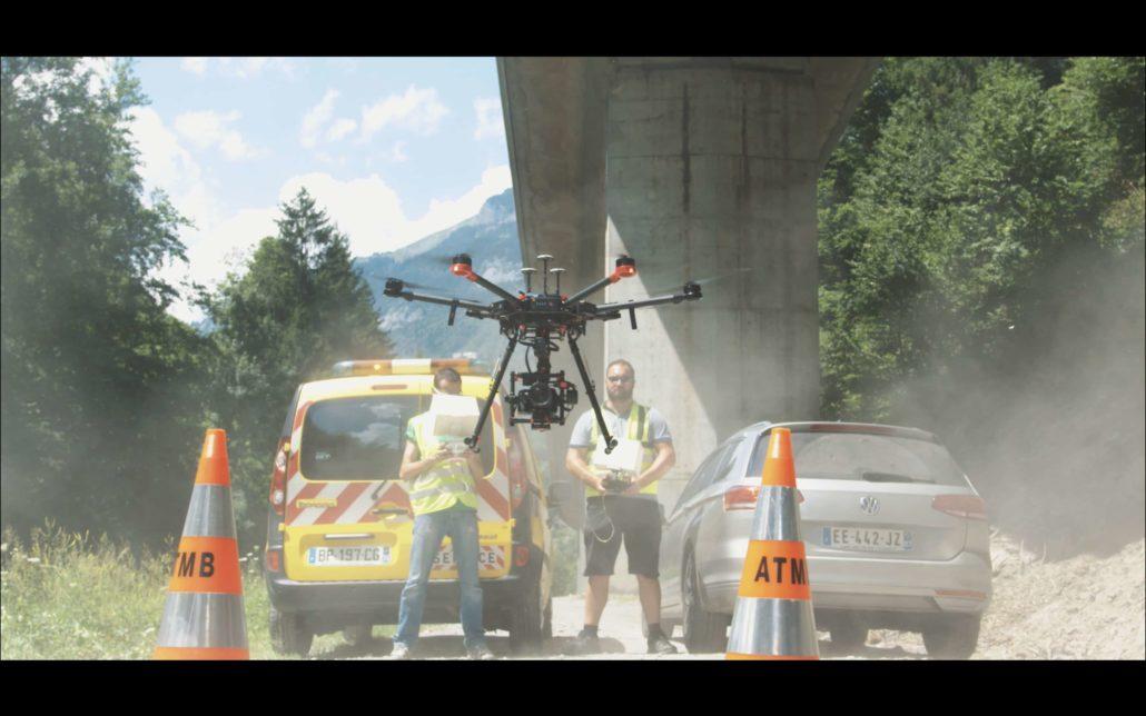 inspection d'ouvrage par drone pile de grande hauteur