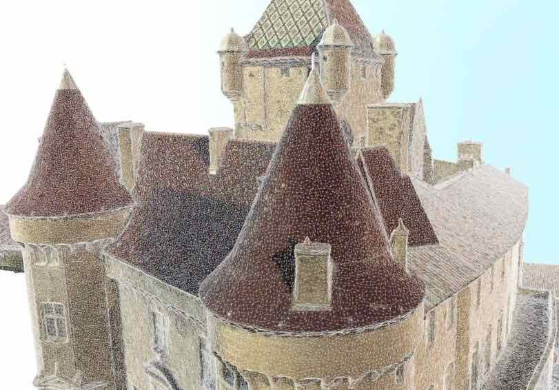 Nuage-de-point-chateau-d'aubenas-modélisation 3d par photogrammètrie en rhone alpes
