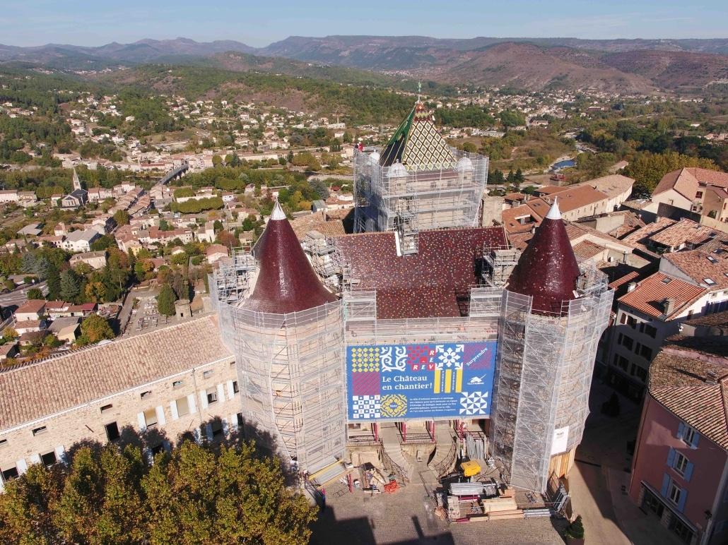 Suivi de chantier du chateau d'Aubenas en photos par drone