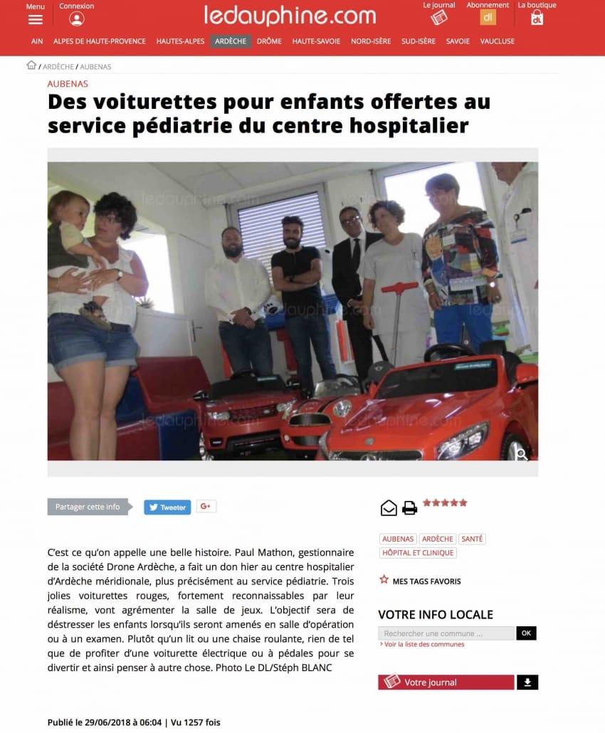 drone ardèche offre des voitures aux enfants des hopitaux