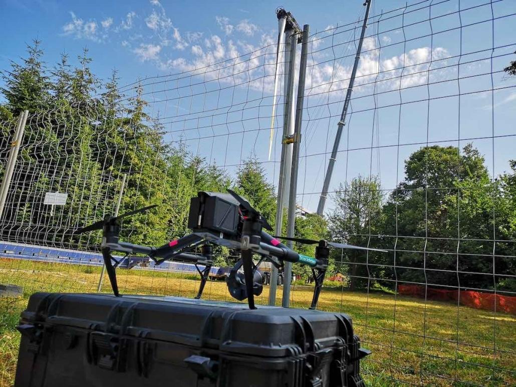 vidéo par drone de démontage d'une éolienne