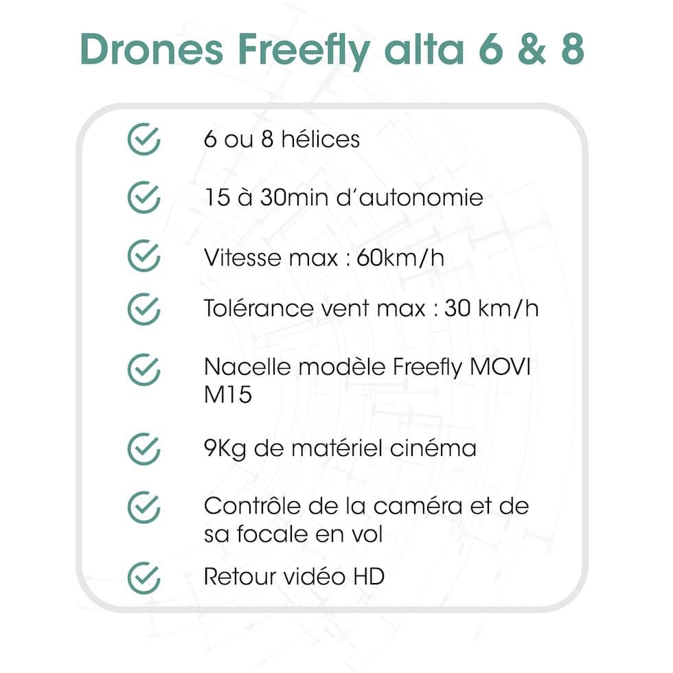 fiche technique opérateur drone avec Freefly Alta France paris Marseille