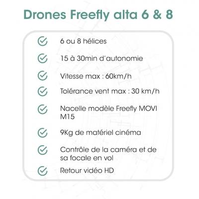 Fiches Techniques drone cinéma | Freefly Alta 8 Pro | quel drone choisir pour porter une camera red ?