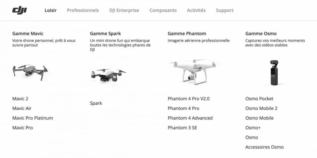 drones de gamme amateur DJI