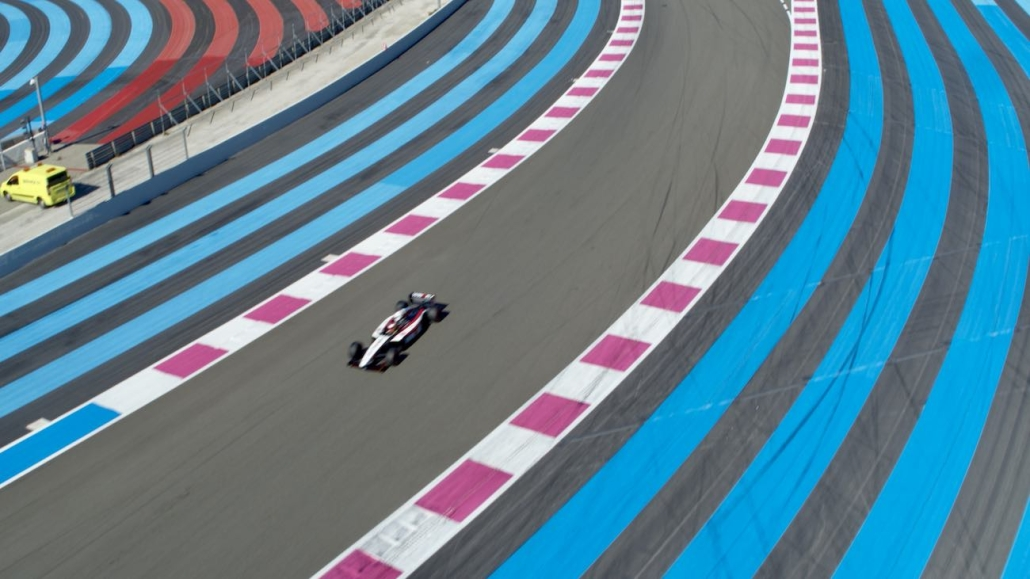 drone picture about a formula 1 on Paul Ricard Circuit
