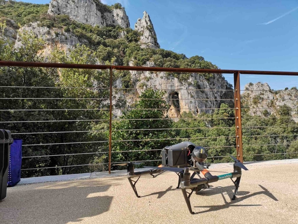 French drone entreprise for aerial shooting in Ardèche at Vallon Pont d'Arc and Caverne du Pont d'Arc